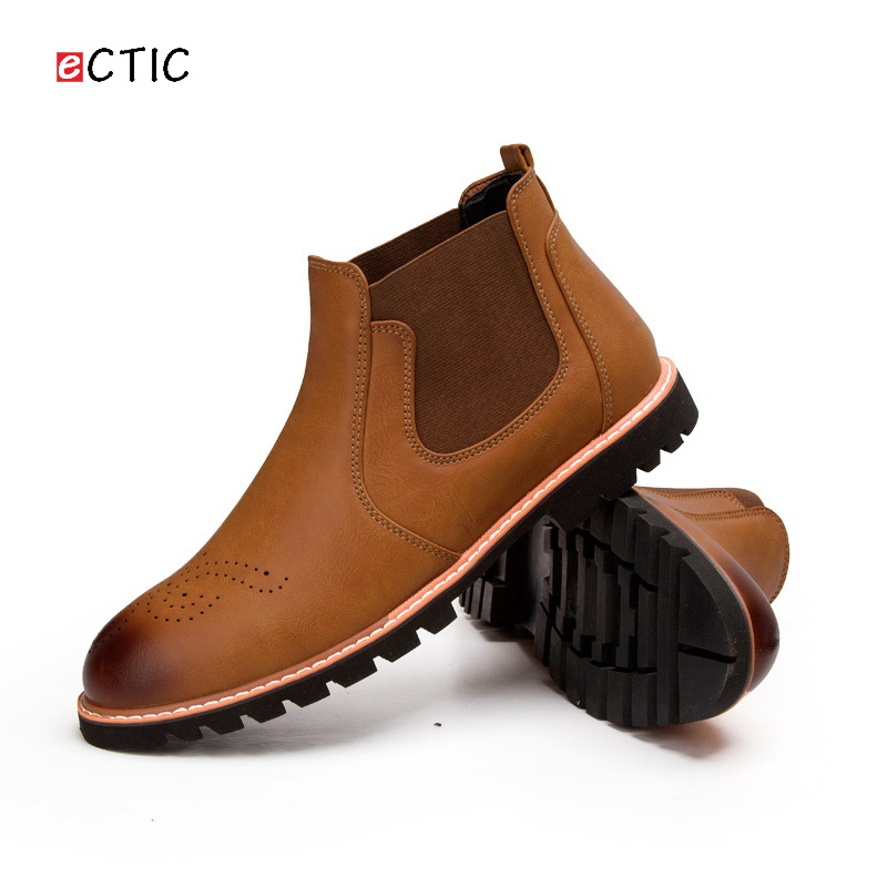 Chelsea Boot Men Martin Boots High Top Leather Ankle Boots Britain Botas Winter Mens Boots Carved