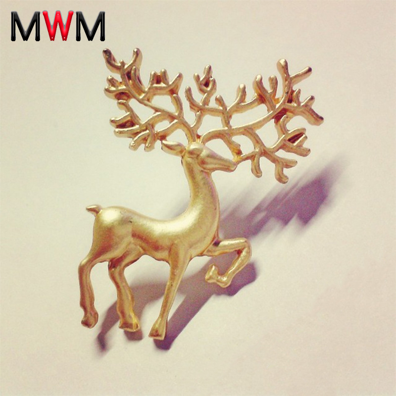MWM animal deer brooch pin jewelry for women men metal vintage clothes large safety accessories jewelry fashion gifts for girls chic rhinestone christmas deer shape brooch jewelry for women