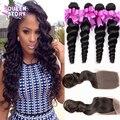 7A Brazilian Loose Wave With Closure 4 Bundles With Closure Brazilian Virgin Hair with closure Human Hair bundles with closure