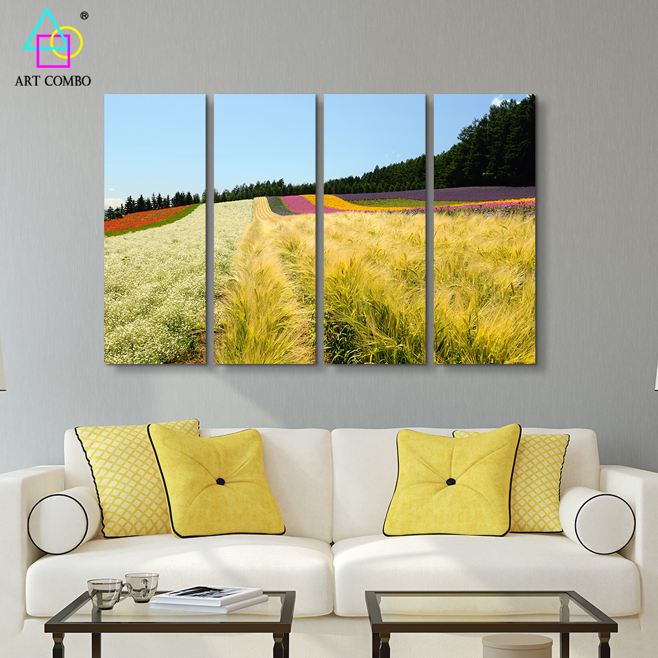 4 Pieces Creative Country Style Landscape Nature Paintings On Canvas ...