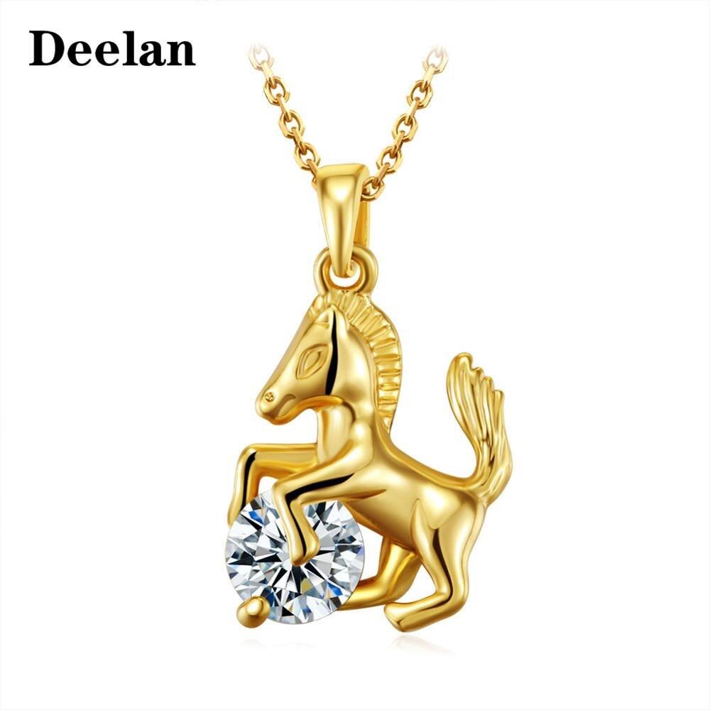 DEELAN Mode Gold Silber Farbe Kette Pferd Form charme anhänger halsketten Für Frauen Mädchen kristall zirkon Geschenk halskette schmuck