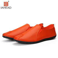 Men Leather Shoes Casual Loafers For Summer Autumn New Light Comfortable Flats Solid Rubber Shoes MF375