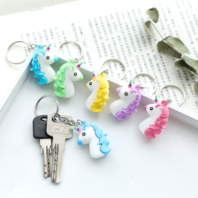 1 pcs Creative Unicorn Keychain for Women 2018 Fashion Handbag Licorne Pendant Key Chain ...