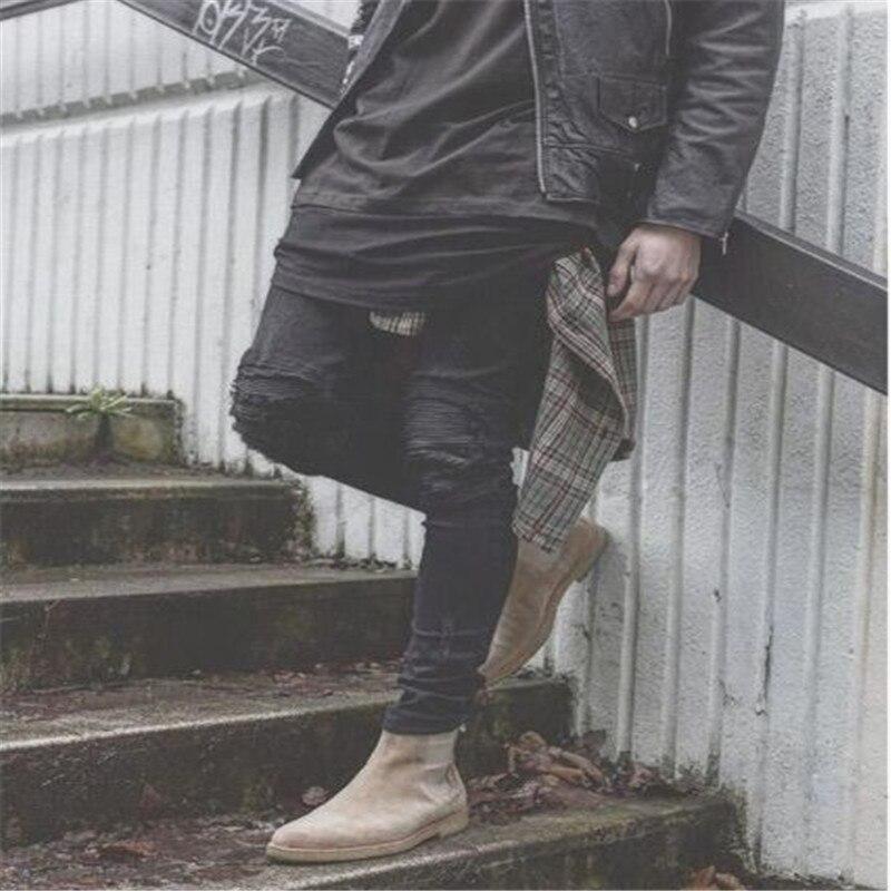 d3510ceb21 2017 moda ripped skinny jeans negro hombres personalidad Rock estilo Jean  Pantalones slim fit pantalones para hombre jeans gastados en Pantalones  vaqueros ...