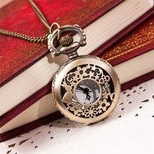 2017  Pocket Watch Chain Quartz-watch Vintage Retro Bronze Quartz Pocket Watch Pendant Chain Necklace