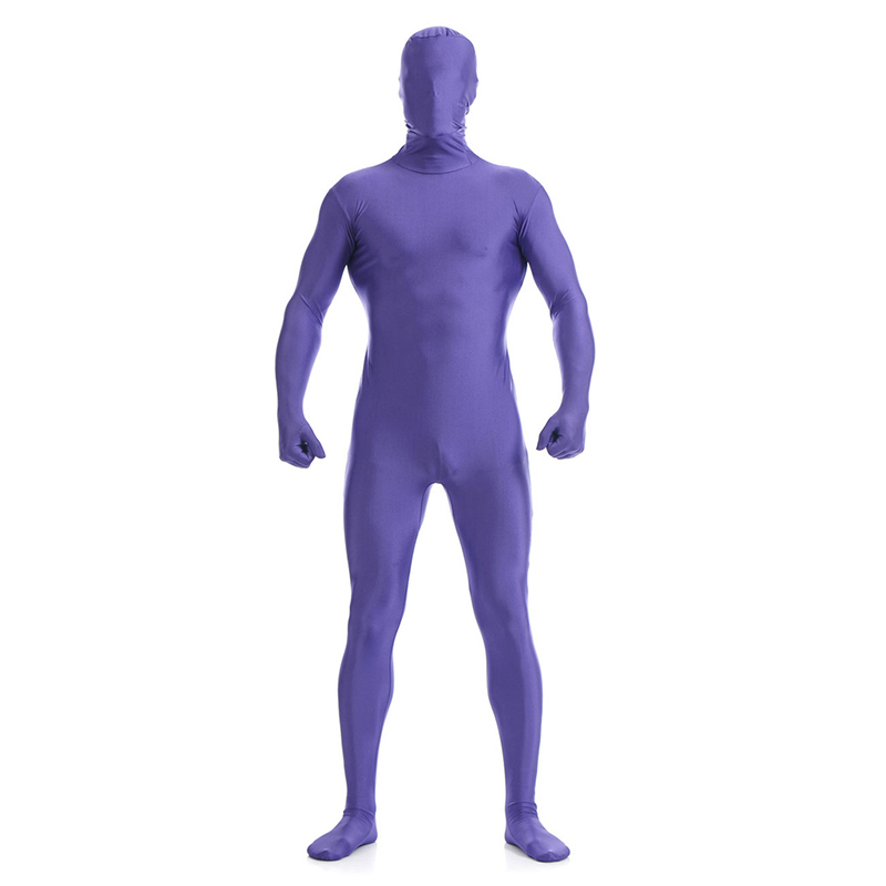 Ainclu 24 hours Purple Lycra Spandex Zentai Suit for Men Green Giant Halloween Jumpsuit Romper Rush order/Same day shipping