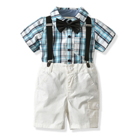 2018 Summer Kids Boys Clothes Set Casual Plaid Shirt Overalls 2Pcs Toddler Children Wedding Suit For
