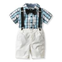 2018 Summer Kids Boys Clothes Set Casual Plaid Shirt Overalls 2Pcs Toddler Children Wedding Suit For