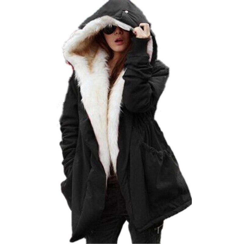 site réputé 455d9 022e8 € 27.64 49% de réduction|Parkas mujer en fourrure de couleur unie, veste  d'hiver à capuche en coton rembourré pour femme, parka décontracté pour ...