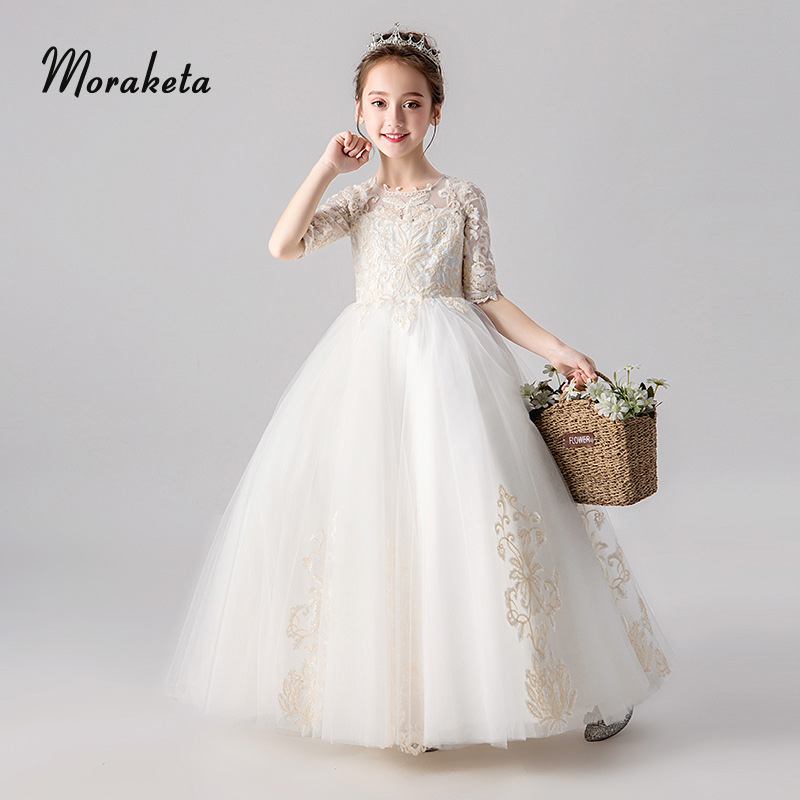 Ball Gown Floor-Length Long First Communion   Dresses   2019 Lace Appliques Tulle Princess   Flower     Girl     Dress   With Half Sleeves