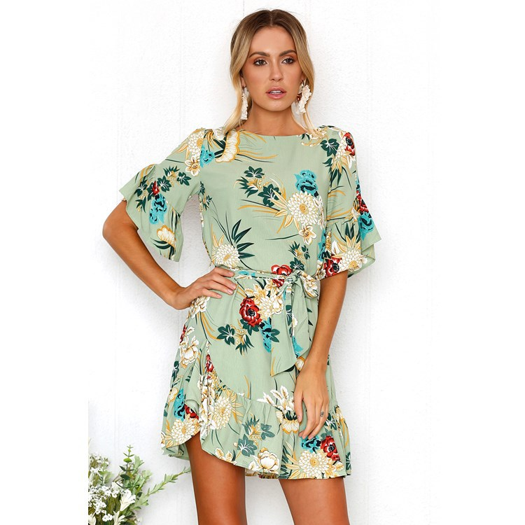 butterfly sleeve dresses asymmetrical slash sashes vestidos 2019 Summer women chiffon dress above knee mini casual vestido femme