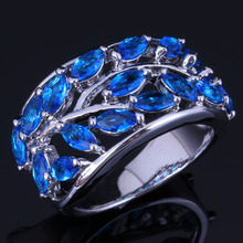 Luxurious Tree Blue Cubic Zirconia 925 Sterling Silver Ring For Women V1059