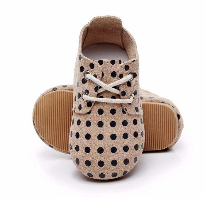 2020 Spring New High Quality Hard Rubber Sole Genuine Leather Handmade Polka Dot Baby Maccasins Shoes Kids Shoes Baby Boots