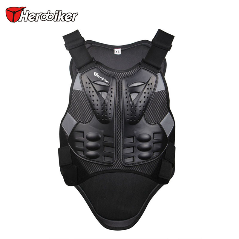 ФОТО HEROBIKER Motorcross Racing Armor Black Motorcycle Riding Body Protection Jacket With A Reflecting Strip Motorcycle Armor