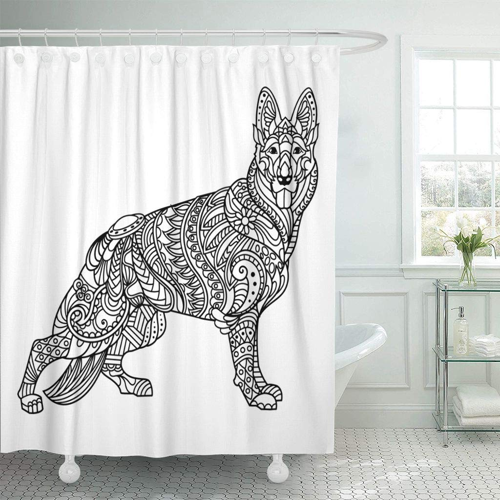 Hot Sale Shower Curtain Page German Shepherd Coloring Book for ...