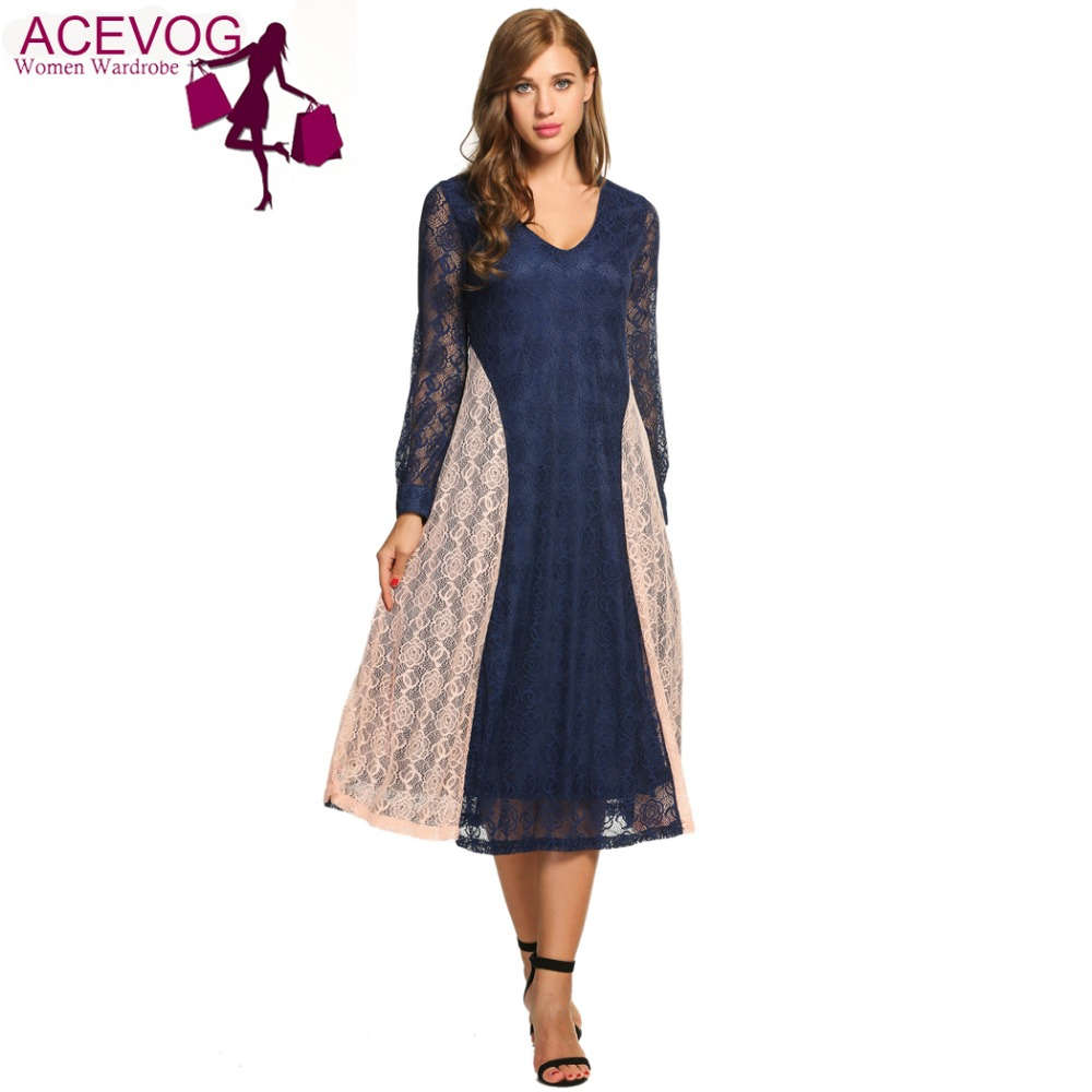 ACEVOG Spring Long Mid-calf Dress Women Casual Long Sleeve Patchwork V Neck Lace Dress Zip 5 Size