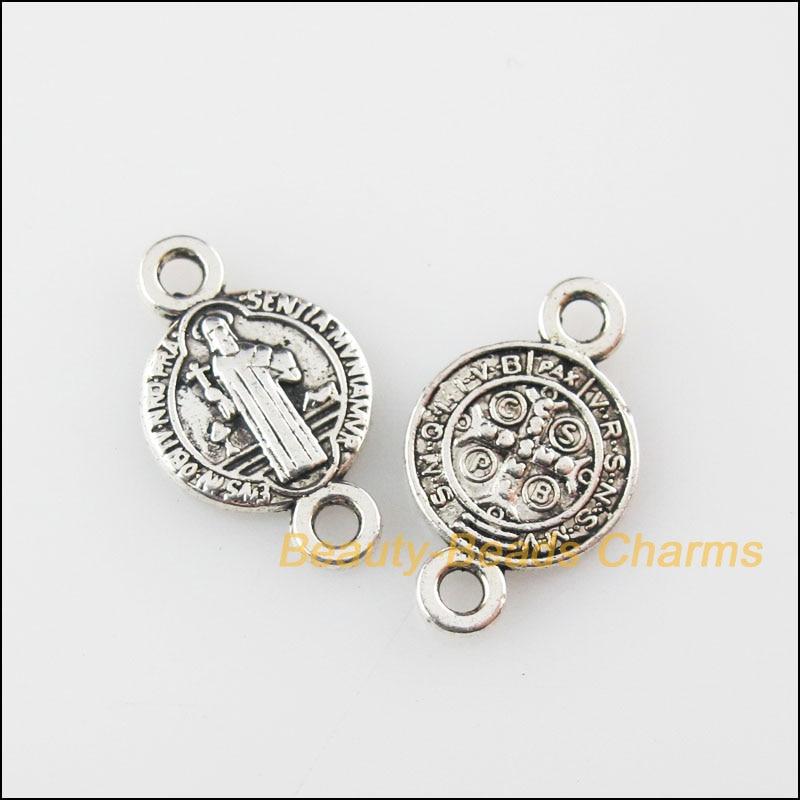 6Pcs Tibetan Silver Mixed Crystal Round Charms Pendants 10x13mm