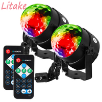 Litake 2PCS LED Disco Ball Light With Remote Control Portable Mini RGB Lamp 7 Colors Magic