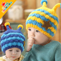 2014 New Bees style baby boys knitting Hats Winter Fur Hat with villi inner Kids Earflap Cap 1-4 Years Old