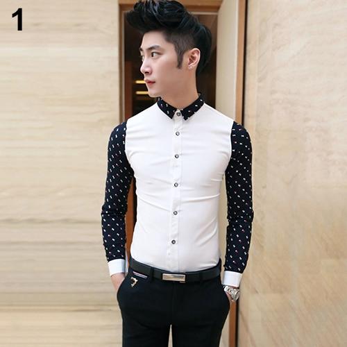 Men's Fashion Cotton Blend Shirt Casual Slim Fit Turn-down Collar Long Sleeve Shirts