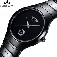 Lunry AESOP Watch Men Black Ceramic Waterproof Date Quartz Watch Relogio Masculine