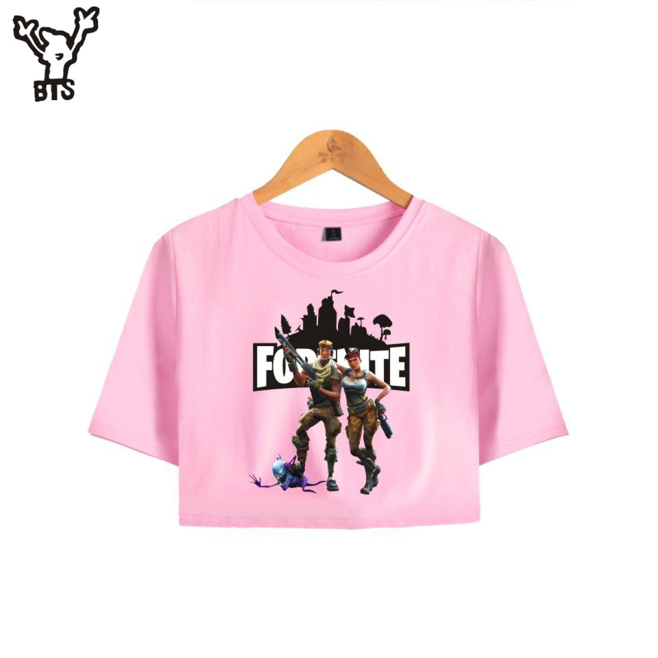BTS Fortnite Kawaii Summer Funny Print Bare Midriff Top Shooting Game Women Sexy Victory Royale Crop top Popular GameA7048-A8107