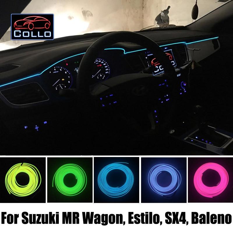 Flexible Neon Cold Light / 9M EL Wire For Suzuki MR Wagon / Karimun Estilo / SX4 / Neo Baleno / Car Console Decorative Strip