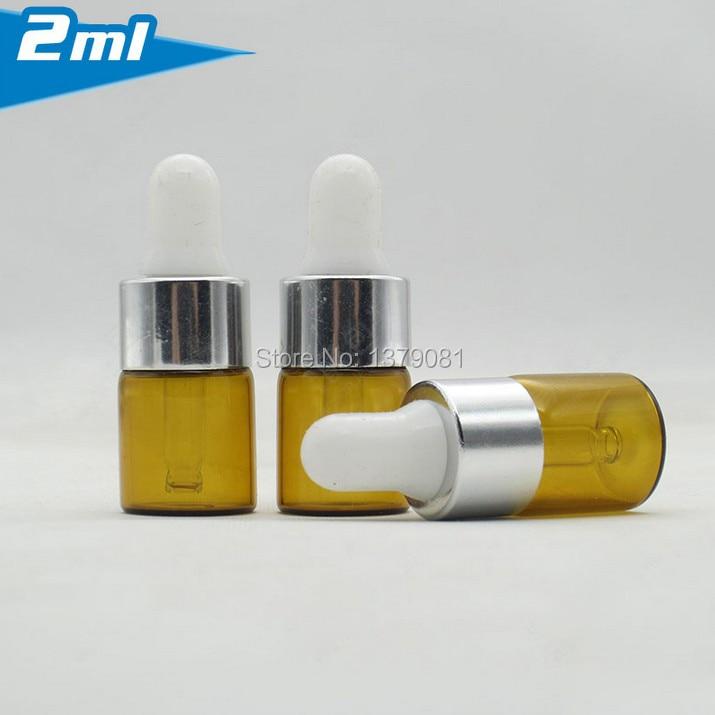 2ml Amber Mini Glass Bottle,2cc Dropper Bottle Sample Vial Essential Oil Bottle With Silver Rim Free Shipping Beauty & Health