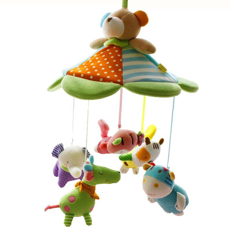 SHILOH Musical Mobile Baby Crib Cosleeper Newborn Kid Infant Bed Bell Toy with Holder Bracket and Music Box 60 Songs Teddy baby toys baby mobile crib rabbit elephant musical box with holder arm music newborn rotating bed bell plush toy