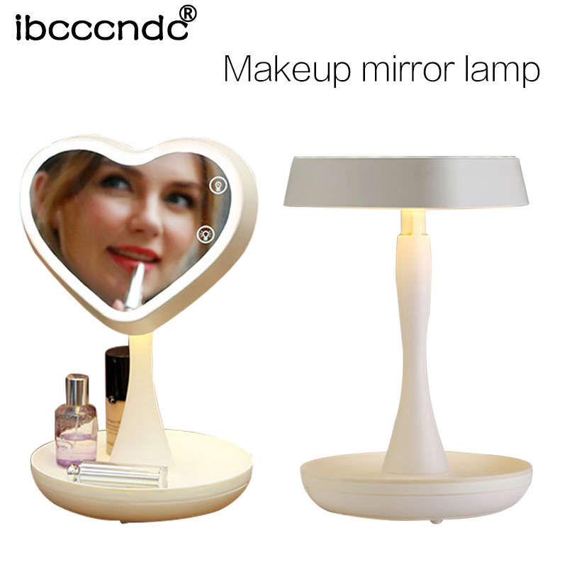 New Adjustable USB LED Lighted Makeup Mirror Touch Screen Portable Magnifying Vanity Tabletop Lamp Cosmetic Mirror Make Up Tool usb led makeup mirror maquiagem double sided wireless charge for phone led touch screen amplifier make up mirror cosmetics tool