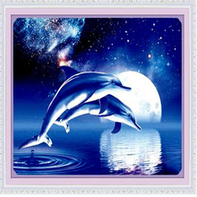 Moonlight cross-stitch /dolphin design Precise printing cross-stitch/ don't fade in the bedroom  adornment picture/Free Shipping