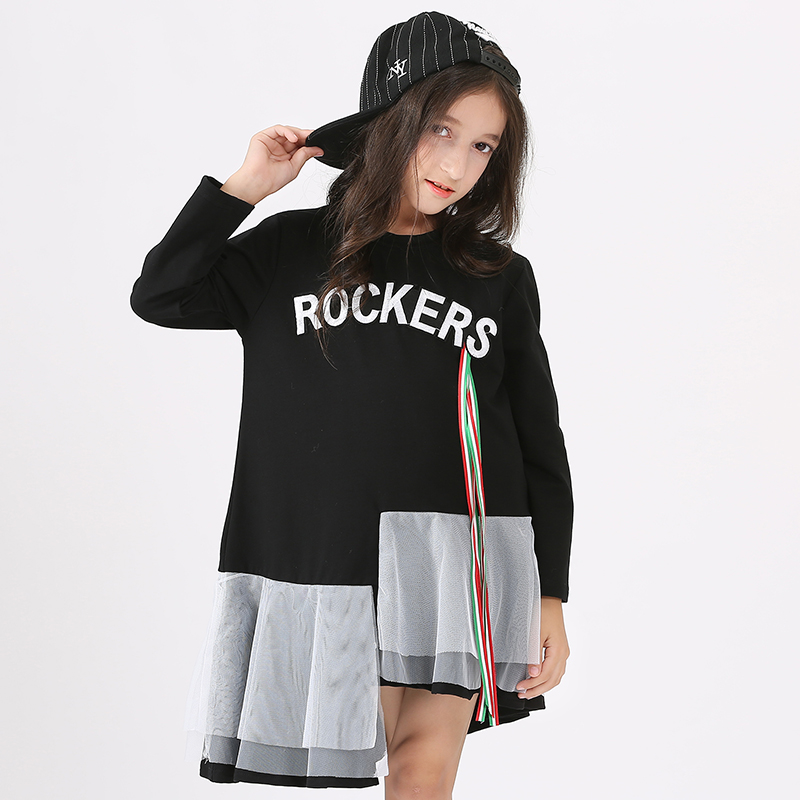 Big Girls Clothes Teenage Girls Dress Long Sleeve Black Color Mesh Patch Dress Spring Winter Kids Dress 15 14 13 12 10 8 years sere