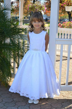 Pure White Holy First Communion Gowns for 2-14 Years Princess Zipper Back Customized Flower Girl Dress with Lace Appliques Long