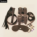 FREE GIFT!!!7 pcs/set Adult Games Leather Sex Bondage Hand Cuffs Whip Nipple Clip Mask Fetish Sex Games for Married Couples