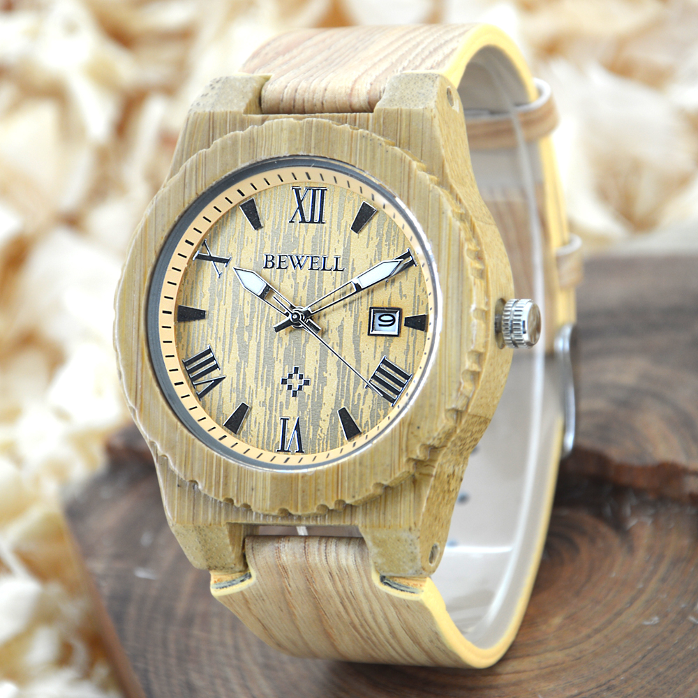 BEWELL W109C Simple Bamboo Wood Watches Men BusinessWristwatches With Chronograph 2018 Brand Luxury for Men with Paper Box Gift bobo bird brand new sun glasses men square wood oversized zebra wood sunglasses women with wooden box oculos 2017