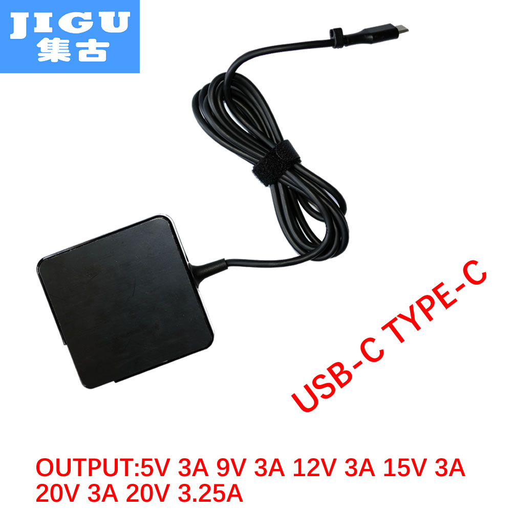 JIGU 65W AC Adapter 5V3A 9V3A 12V3A 15V3A 20V3.25A 20V3A for Lenovo/Google/Apple/HP/Acer/ASUS/HUAWEI/Sony MOBILE USB-C Device