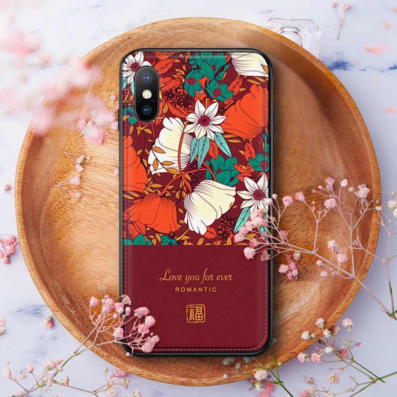 Téléphone étuis pour iphone 8 7 6 6s Plus X Xs Max XR Housse En Cuir Peau Douce En Silicone Fleur Texture Téléphone Sac