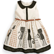 Princess Baby Kids Girls Dress Graffiti Cat Belt Party A-Line Gown Dresses 2-7Y