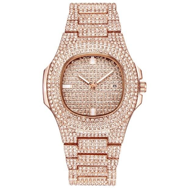 Роскошные часы с бриллиантами для мужчин и женщин, часы в стиле хип-хоп, мужские кварцевые часы, ремешок из нержавеющей стали, деловые наручные часы для мужчин - Цвет: Розовый