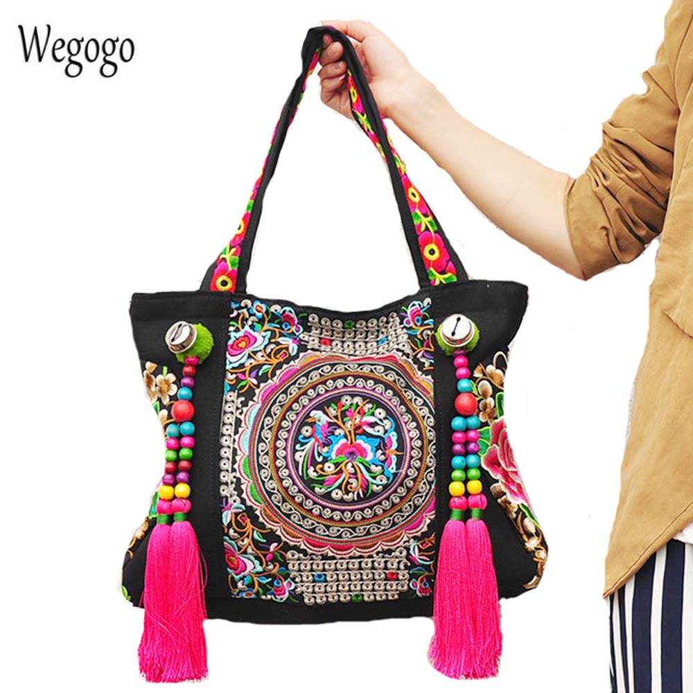 Vintage Women Handbags Ethnic Embroidered Bags Chinese National Tassel Beads Shoulder Bag Lady Big Travel Shopping Beach Totes 2016 summer national ethnic style embroidery bohemia design tassel beads lady s handbag meessenger bohemian shoulder bag page 2