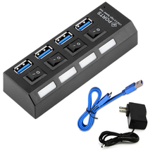 USB 3.0 Splitter 4 Ports LED on/off Switch High Speed Portab