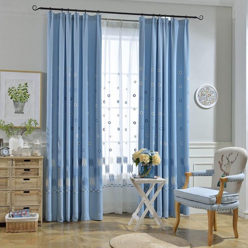 Campanula azul branco tule cortinas para sala de estar - Persianas para balcones ...