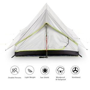 Image 4 - Lixada tienda de campaña ultraligera para 2 personas refugio de malla de doble puerta, perfecto para acampar, mochilero y a través de tiendas de campaña para acampar al aire libre