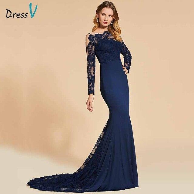 Dressv אלגנטי ארוך שרוולים שמלת ערב מסולסל קצה צוואר חצוצרת תחרה מסיבת חתונה רשמי שמלת ערב שמלות אישית