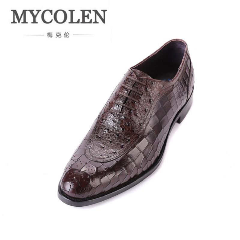 MYCOLEN Handmade Genuine Leather Men Dress Shoes Black Brown Top Quality Classic Vintage Male Shoes Men Basic Flats Scarpe gram epos men casual shoes top quality men high top shoes fashion breathable hip hop shoes men red black white chaussure hommre