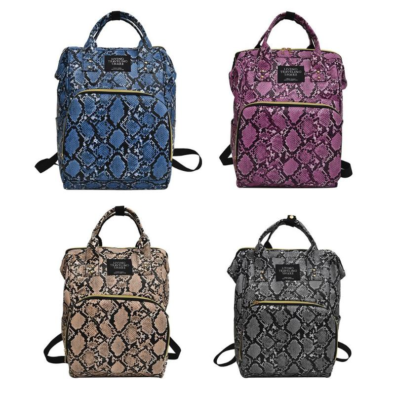 Snake Print Mommy Travel Backpacks Large PU Leather Maternity Nappy Bags Large Capacity Convenient Women Multi-pocket