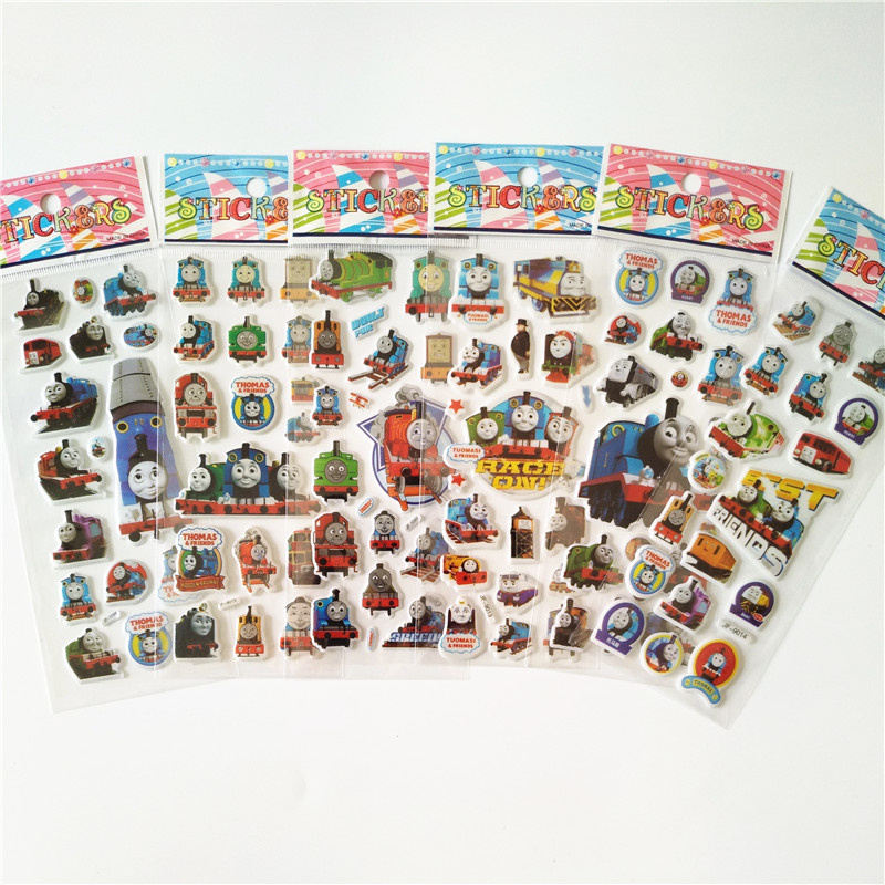 6 sheets Anime Thomas train stickers for bike Scrapbooking Notebook Paper Bubble Puffy Stickers Emoji Reward Kids Toys 10 sheets cute masha and bear 3d stickers diary pvc puffy reward kids lot kawaii educational bubble stickers for notebook