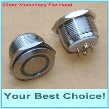 36 шт./лот 22 мм водонепроницаемый мгновенный 3,3 В диодное кольцо с подсветкой антивандальный нержавеющая сталь металлический кнопочный переключатель