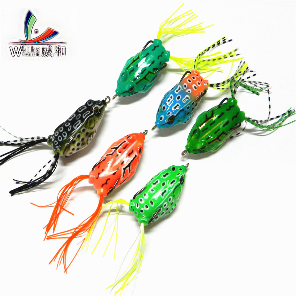 6 Pcs Artificial 5.5cm/14g 3D Eyes Bait Soft Plastic Bait Tube Fishing Lures Frog Topwater Toad Ray Lure Sharp Hooks Ffishing