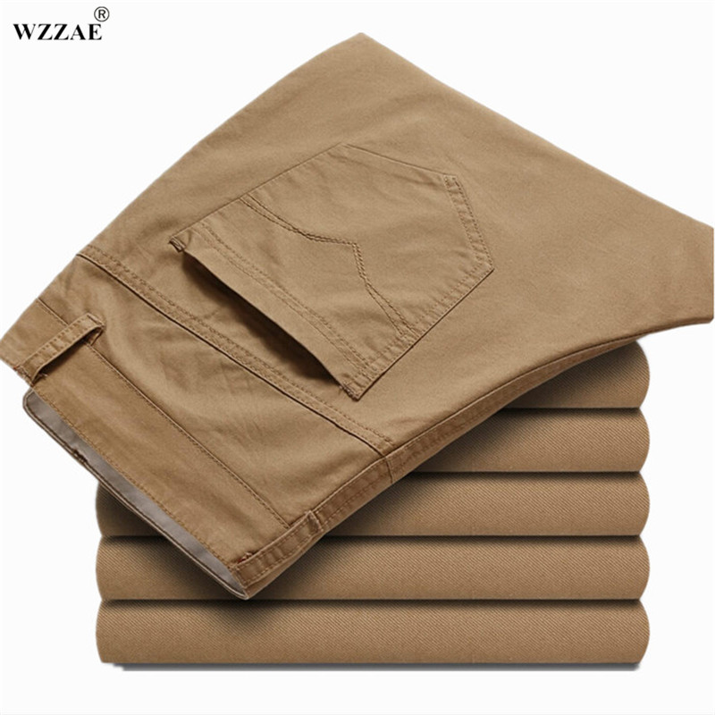 WZZAE Hot Sale 2018 Brand New Fashion Mens Casual Pants New Design Business Trousers High Quality 100% Cotton Pants Size 28~42